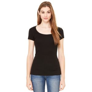 Women's Short Sleeve Sheer Mini Rib Scoopneck Tee Thumbnail