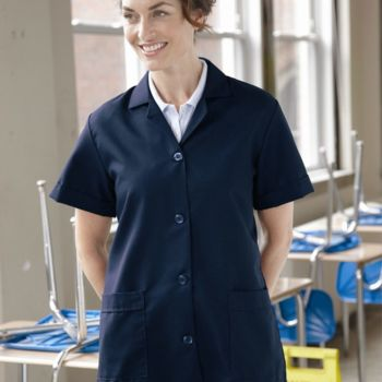 Ladies' Loose Fit Short Sleeve Button Smock Thumbnail