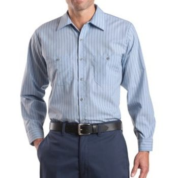 Long Sleeve Striped Industrial Work Shirt Thumbnail