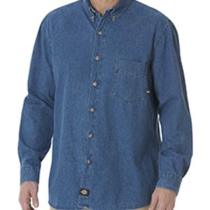 Unisex Long-Sleeve Button-Down Denim Shirt Thumbnail