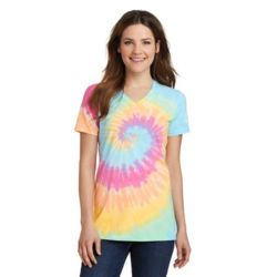 Ladies Tie Dye V Neck Tee Thumbnail