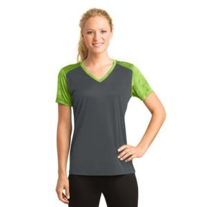 Ladies CamoHex Colorblock V Neck Tee Thumbnail