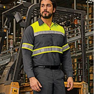 Hi-Visibility Colorblock Ripstop Long Sleeve Work Shirt - TALL Thumbnail