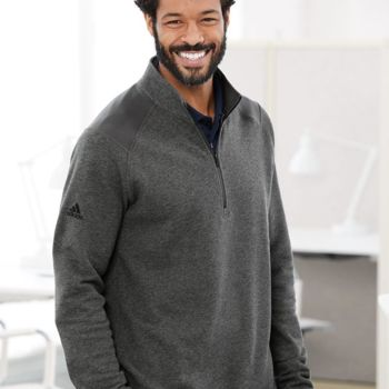 Heathered Quarter Zip Pullover with Colorblocked Shoulders Thumbnail