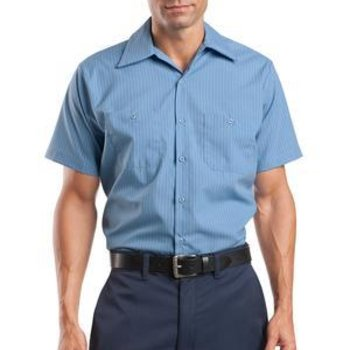 Long Size, Short Sleeve Striped Industrial Work Shirt Thumbnail
